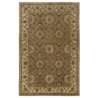 Handmade Border New Zealand Wool Brown Rug (5' x 8')