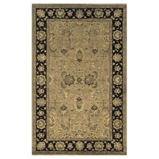 Hand-tufted Border New Zealand Wool Beige Rug (5' x 8')