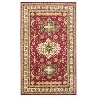 Hand-tufted Border New Zealand Wool Red Rug (5' x 8')