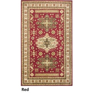 Hand-tufted Border New Zealand Wool Red Rug (10' x 14')
