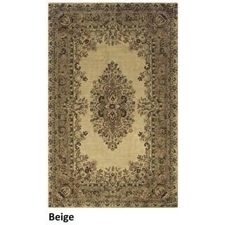 Hand-tufted Border New Zealand Wool Black/ Beige/ Burgundy Rug (5' x 8')