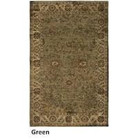 Hand-tufted Border New Zealand Wool Green Rug (5' x 8') - 5' x 8'