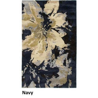 Hand-tufted Abstract Wool Navy Rug (2' x 3')