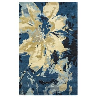 Hand-tufted Abstract Wool Navy Rug (5' x 8') - 5' x 8'
