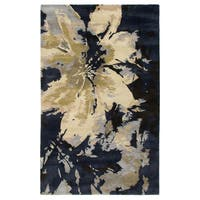 Hand-tufted Abstract Wool Navy Rug (9' x 12') - 9' x 12'