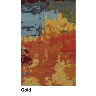 Hand-tufted Abstract Wool Gold Rug (8' x 10')