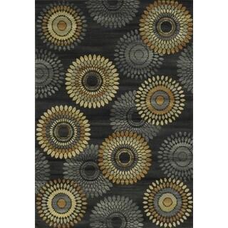 Power-loomed Geometric Polypropylene Black Rug (6' x 9')