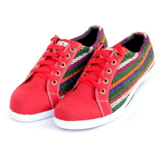 ANDIZ Women's Handmade Multi-colored, Red, and Green Low-cut Oxford Shoes