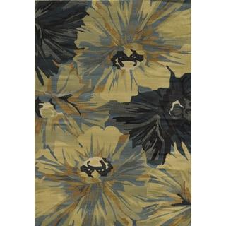 Power-loomed Floral Polypropylene Beige Rug (6' x 9')