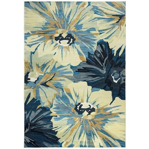 """Power-loomed Floral Polypropylene Beige Rug (6' x 9') - 6'7"""" x 9'6"""""""