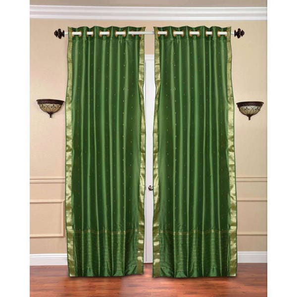 Handmade 84-inch Forest Green Ring Top Sheer Sari Curtain Drape Window Panel (India)