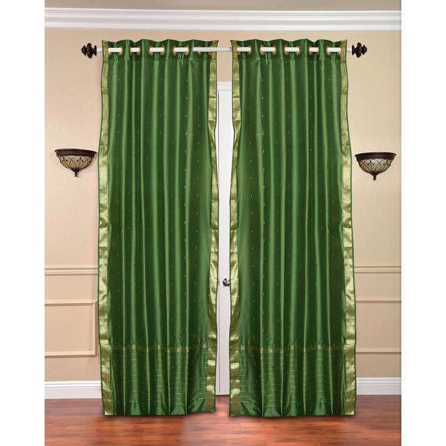 Indian Selections Handmade 84-inch Forest Green Ring Top ...