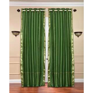 84-inch Forest Green Ring Top Sheer Sari Curtain Drape Window Panel (India)