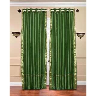 Handmade 84-inch Forest Green Ring Top Sheer Sari Curtain Drape Window Panel (India)