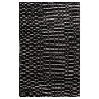 Hand-Knotted Solid Jute Black Rug (5' x 8')