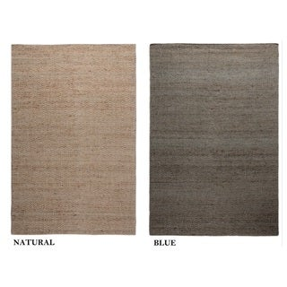 Hand-Knotted Solid Jute Blue/ Natural Rug (2' x 3')