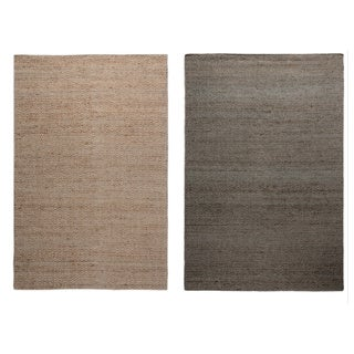 Hand-Knotted Solid Jute Blue/ Natural Rug (8' x 10') - 8' x 10'
