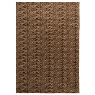 Power-loomed Solid Polypropylene Brown Rug (7' x 10')