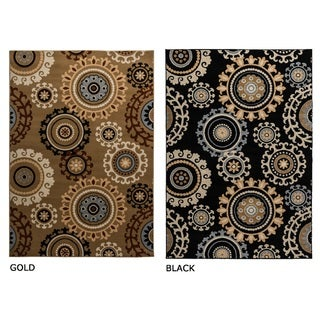 Power-loomed Geometric Polypropylene Black/ Gold Rug (7' x 10')
