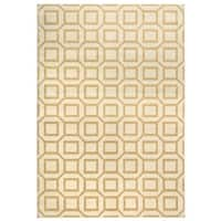 "Power-loomed Geometric Polypropylene Ivory/ Grey/ Gold Rug (7' x 10') - 7'10"" x 10'10"""