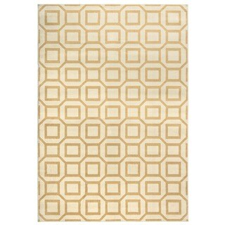 Power-loomed Geometric Polypropylene Ivory/ Grey/ Gold Rug (7' x 10')