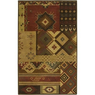 Handmade Geometric Wool Brown Rug (3' x 5')