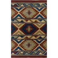 Handmade Geometric Wool Beige Rug - 3' x 5'