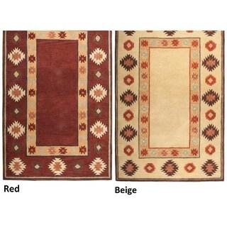 Hand-tufted Geometric Wool Red/ Beige Rug - 2' x 3'