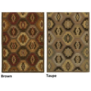 Hand-tufted Geometric Wool Tan/ Brown Rug (3' x 5')