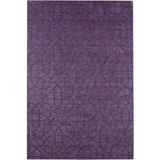 Handmade Solid Wool Purple Rug (2' x 3')