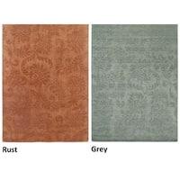Handmade Solid Wool Grey/ Rust Rug - 2' x 3'