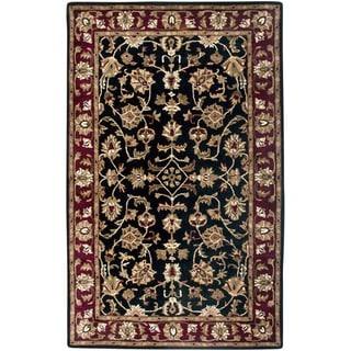 Hand-tufted Border Wool Black Rug (3' x 5') - 3' x 5'