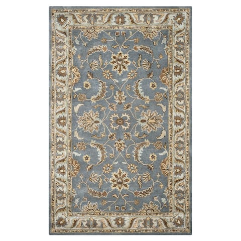 Hand-tufted Border Wool Grey Rug (3' x 5') - 3' x 5'