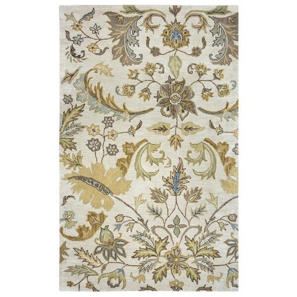 Hand-tufted Floral Wool Beige Rug (2' x 3')