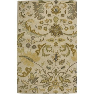 Hand-tufted Floral Wool Beige Rug (2' x 3')