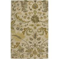 Hand-tufted Floral Wool Beige Rug (3' x 5')