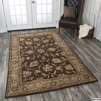 Hand-tufted Border Wool Rust/ Brown Rug - 2' x 3'