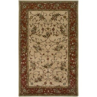 Hand-tufted Border Wool Beige Rug (3' x 5')