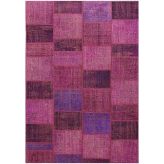 ABC Accents Vintage Patchwork Hand-knotted Overdyed Purple Wool Area Rug (7' x 10')