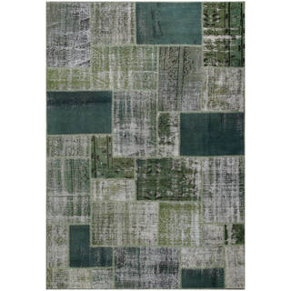 Vintage Patchwork Hand-knotted Overdyed Green Wool Area Rug (7' x 10')