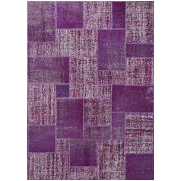 Vintage Patchwork Hand-knotted Overdyed Purple Wool Area Rug (7' x 10')