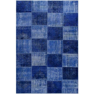 Vintage Patchwork Hand-knotted Overdyed Blue Wool Area Rug (7' x 10')