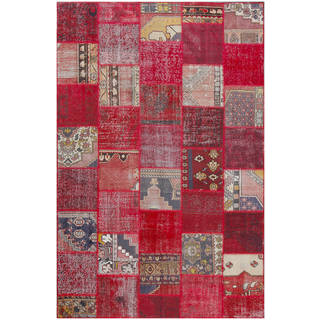 Vintage Patchwork Hand-knotted Overdyed Red Wool Area Rug (7' x 10')