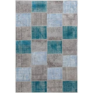 Vintage Patchwork Hand-knotted Overdyed Multi Wool Area Rug (7' x 10')