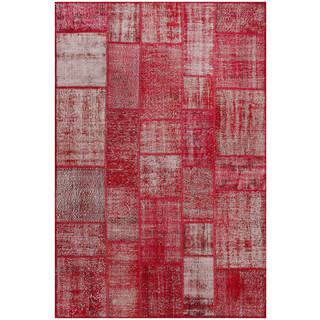 Vintage Patchwork Hand-knotted Overdyed Red Wool Area Rug (6' x 9')