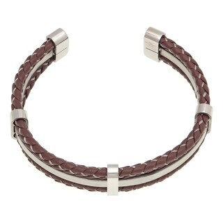 Stainless Steel Two-tone Leather Cuff Bracelet