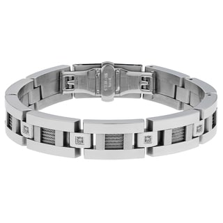 Stainless Steel 0.10ct TDW White Diamond Cable Inlay Bracelet (H-I, I2-I3)