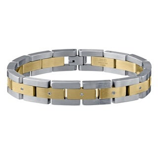 Stainless Steel 0.06ct TDW White Diamond Two-tone Bracelet (H-I, I2-I3)