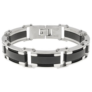 Men's Stainless Steel Cable Inlay Bracelet