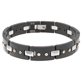 Men's Stainless Steel and Tungsten Bracelet with Multi Ip Plating